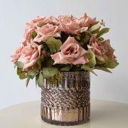 Arranjo de Rosa Diamante Artificial no Vaso Rose Gold
