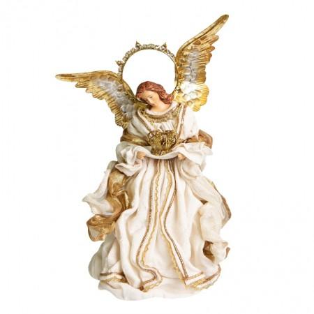 Anjo Natalino Celestial com Asas Douradas | Linha Sacra Natal Formosinha