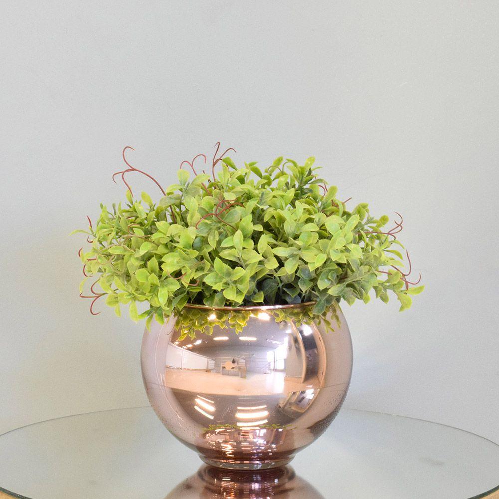 Arranjo de Folhagem Artificial no Vaso Rose Gold Pequeno|Linha Permanente Formosinha