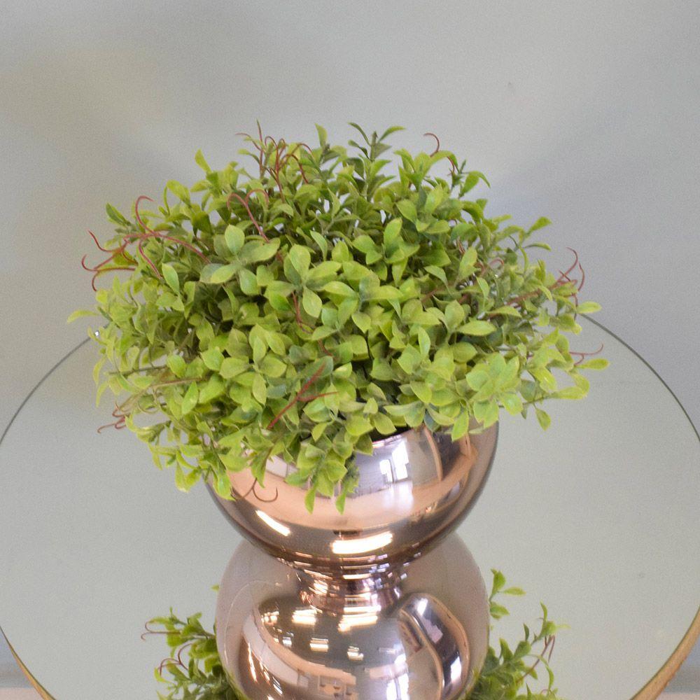 Arranjo de Folhagem Artificial no Vaso Rose Gold Pequeno Linha Permanente Formosinha