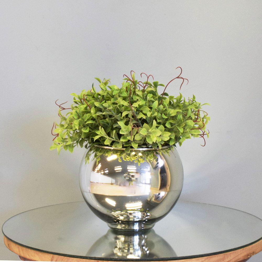 Arranjo de Folhagem Artificial no Vaso Espelhado Pequeno|Linha Permanente Formosinha