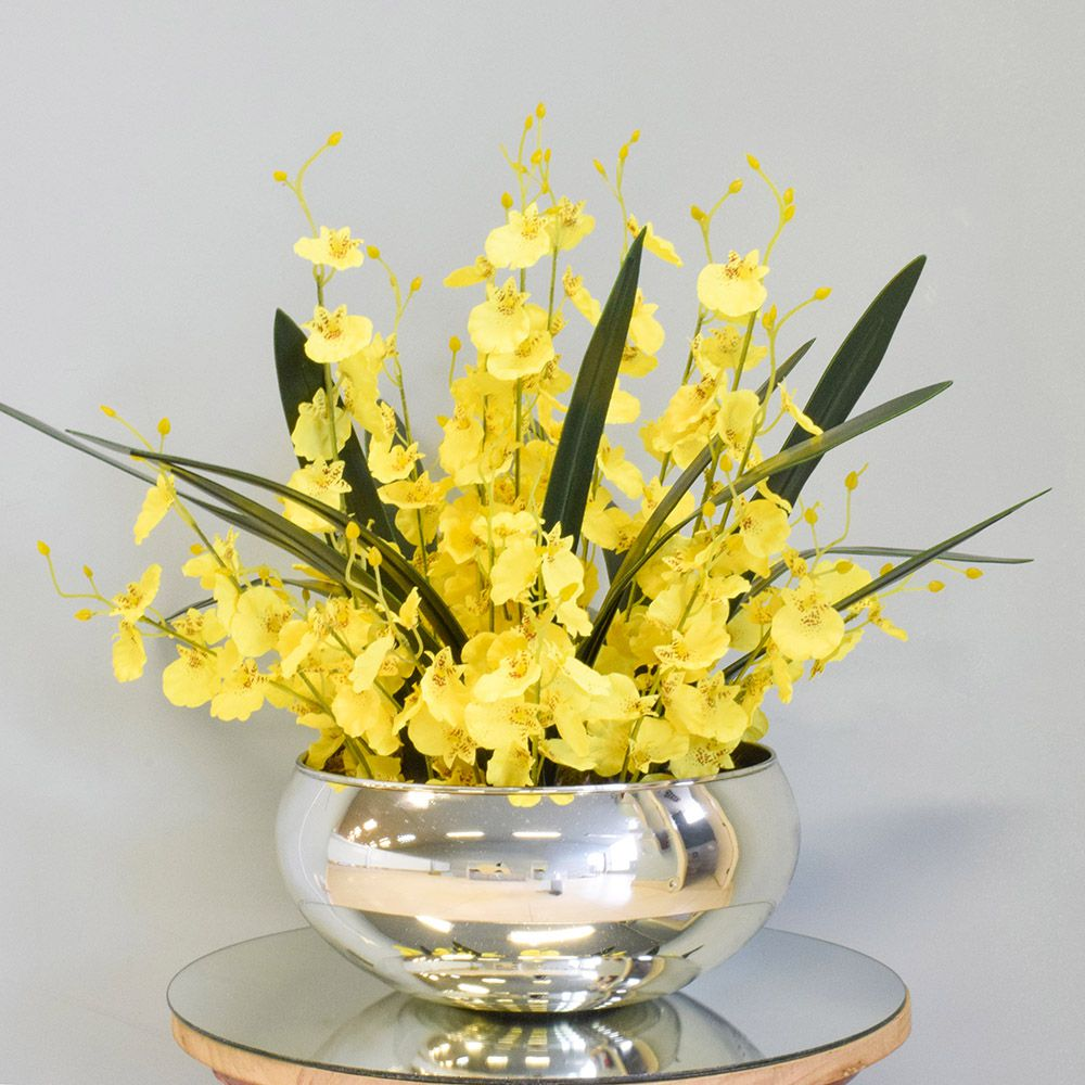 Arranjo de Flores Artificiais Amarelas no Vaso Prateado|Linha permanente Formosinha