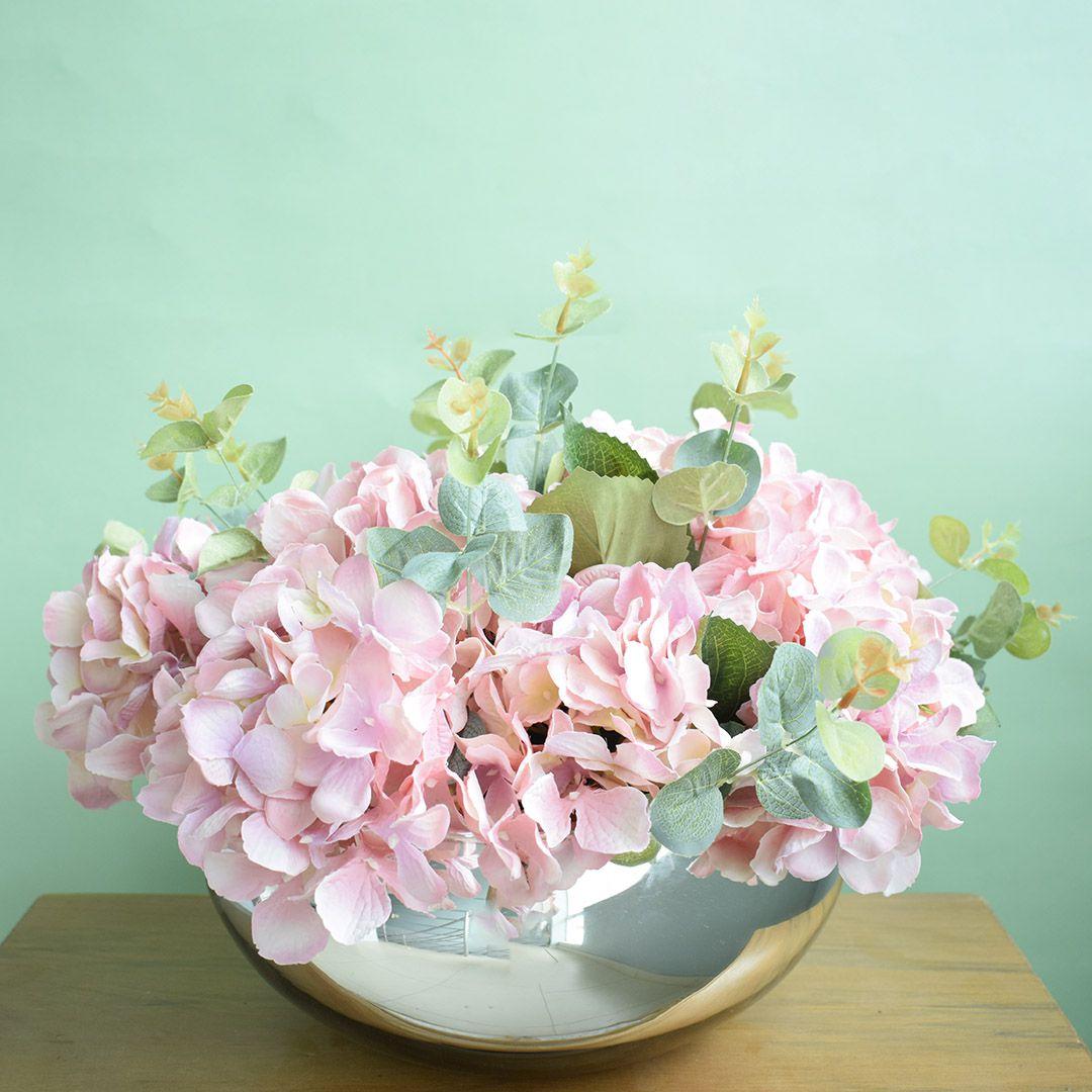 Arranjo de Flores Hortênsias Artificiais Rosas no Vaso Prateado | Linha permanente Formosinha