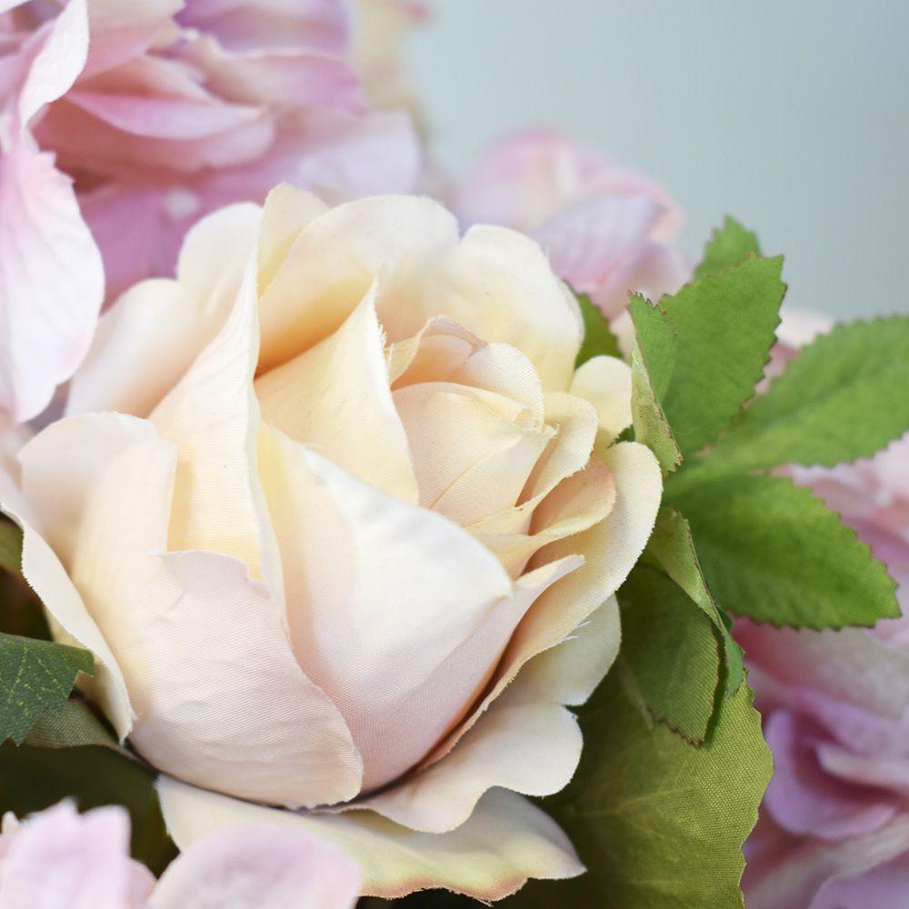 Flores artificiais Arranjo de Rosas e Hortênsias Rosas no Vaso de Vidro|Linha permanente Formosinha