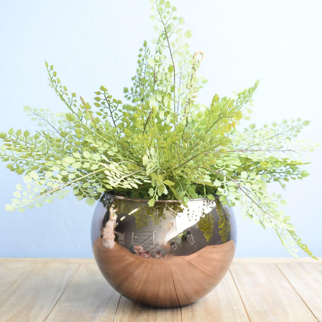 Arranjo Artificial de Avencas no Vaso Bronze Grande |Linha permanente Formosinha