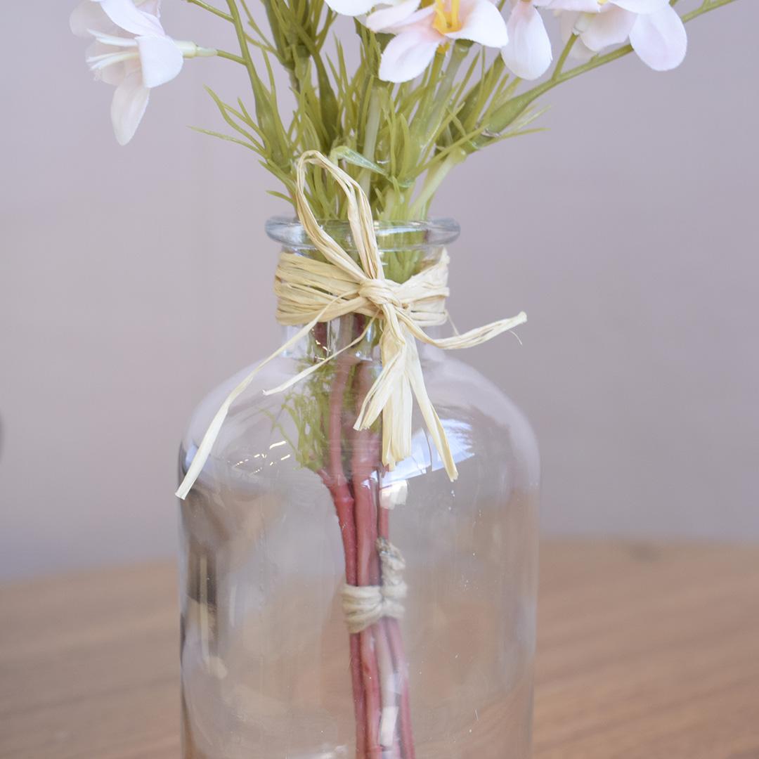Arranjo Artificial de Flores Campo no Vaso de Vidro Delicado | Formosinha