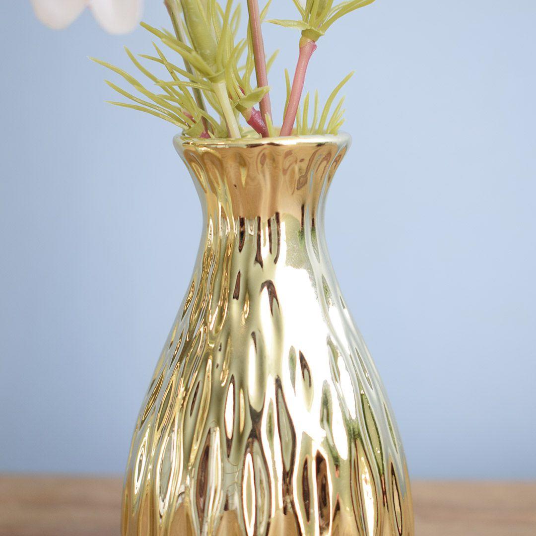 Arranjo Artificial de Flores Campo no Vaso Dourado Pequeno - Kit com Duas Unidades