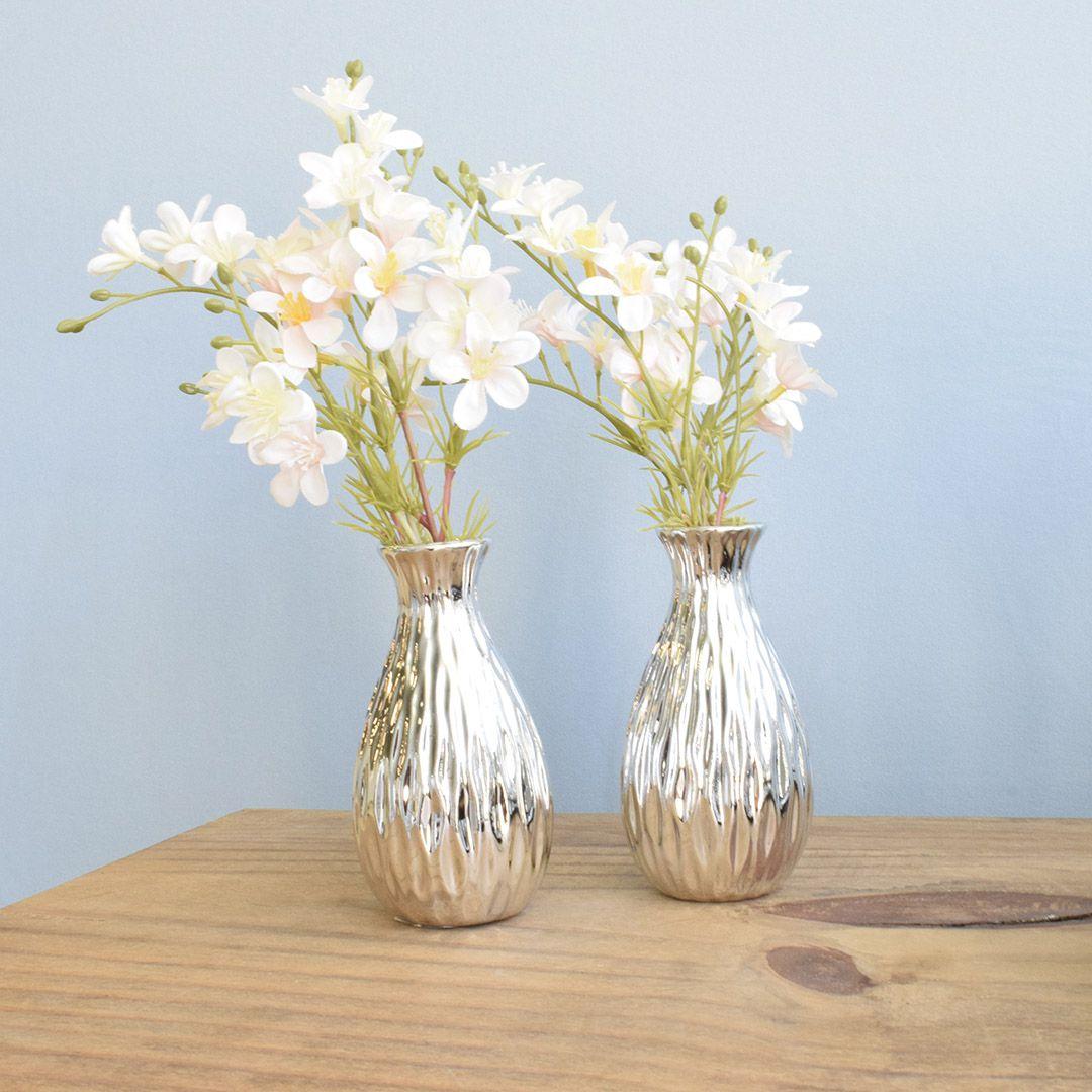 Arranjo Artificial de Flores Campo no Vaso Prateado Pequeno - Kit com Duas Unidades