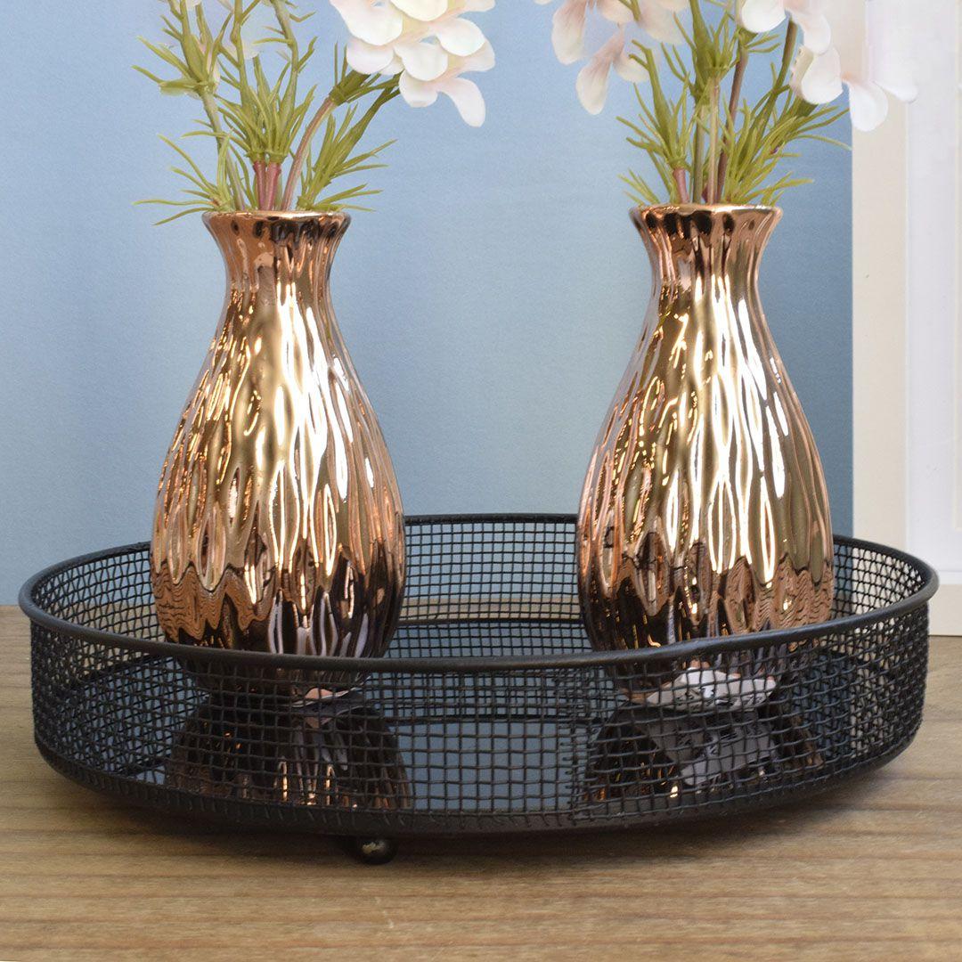 Arranjo Artificial de Flores Campo no Vaso Rose Gold Pequeno - Kit com Duas Unidades