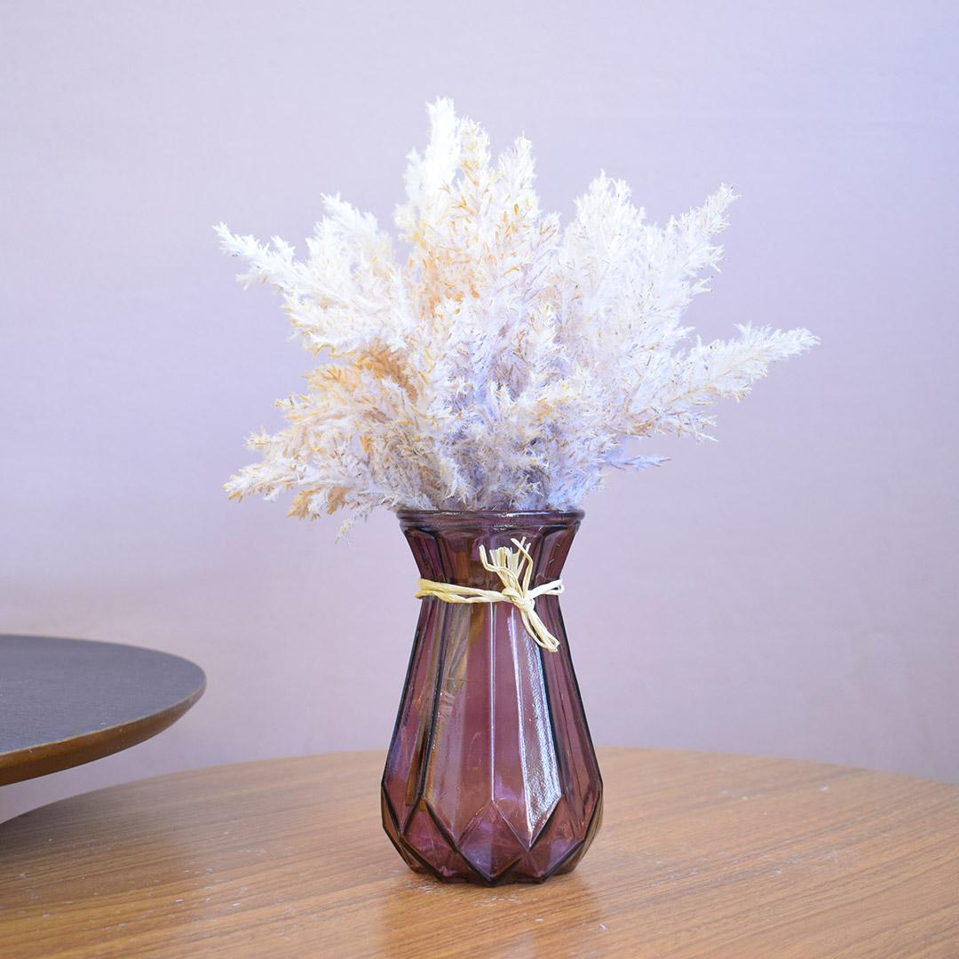 Arranjo Artificial de Flores Envelhecidas no Vaso Geométrico Lilás | Formosinha