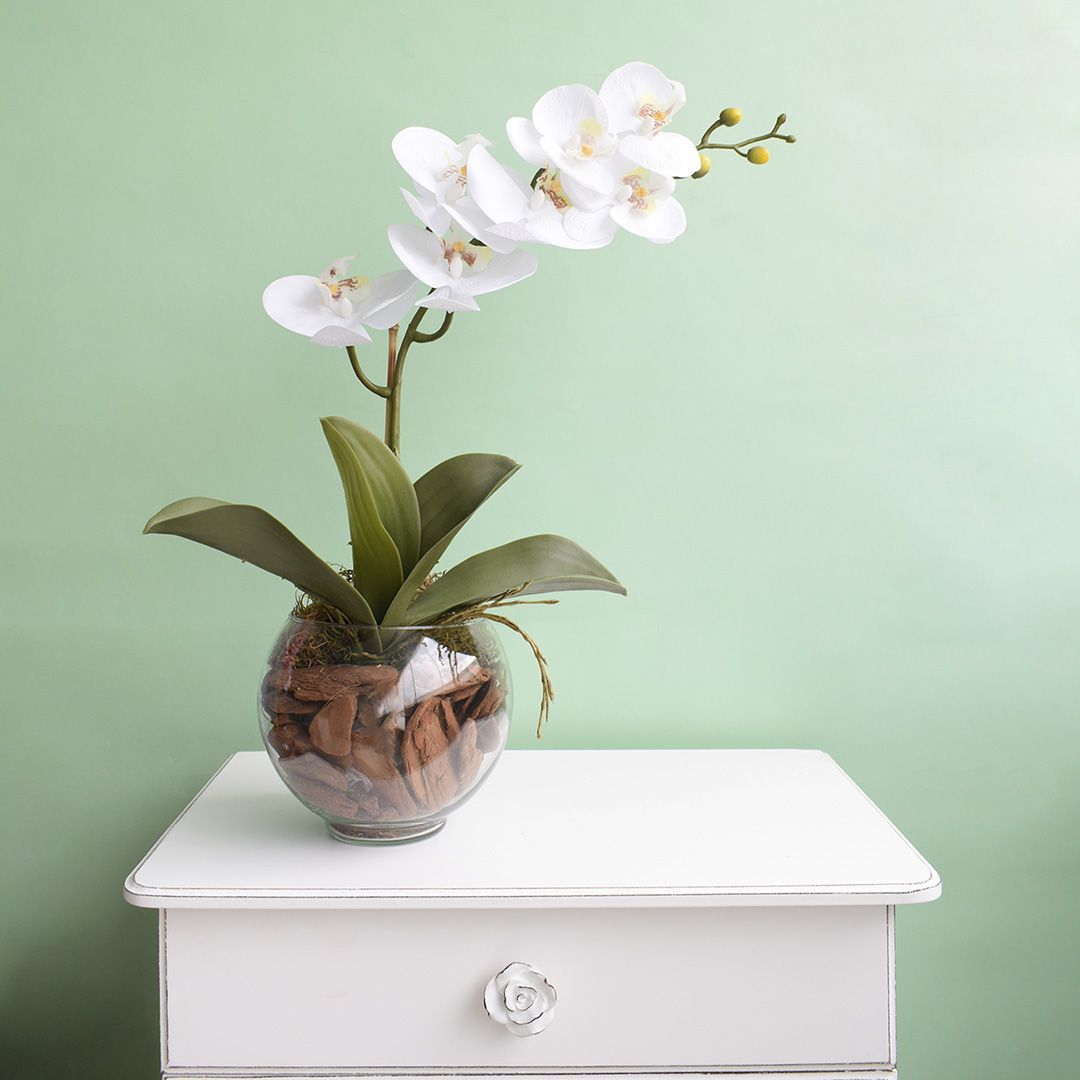 Arranjo Artificial de Orquídea Branca de Silicone no Vaso Transparente | Linha Permanente Formosinha