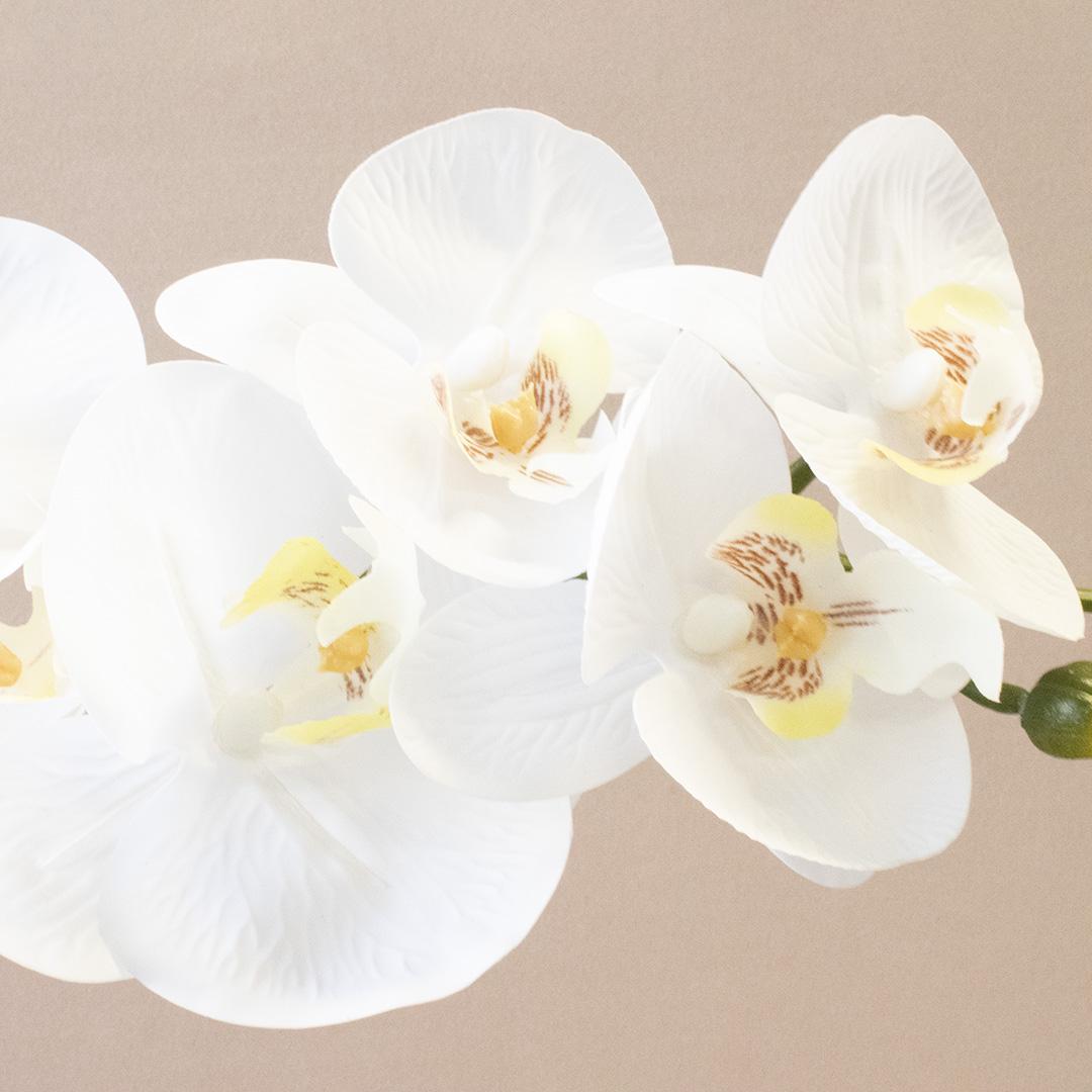 Arranjo de Flor Artificial de Orquídea Branca no Vaso Dourado   Formosinha