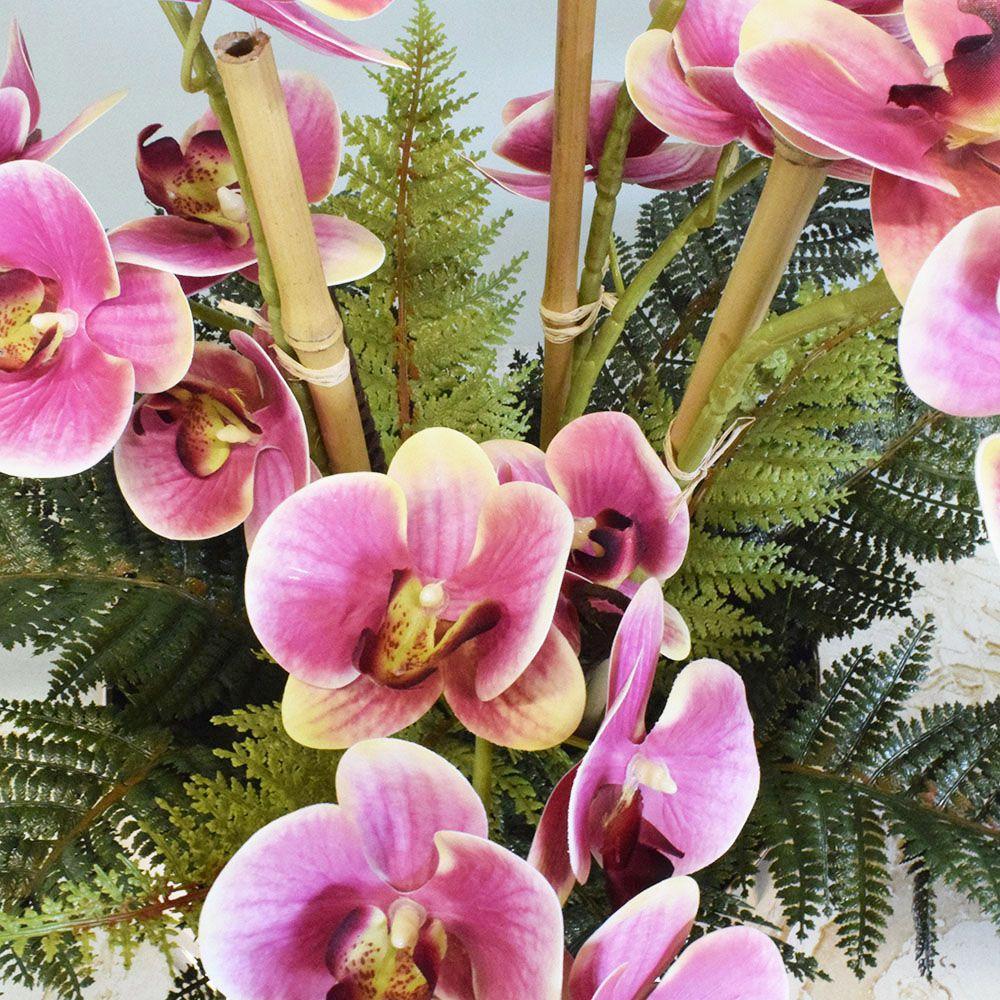 Arranjo de Orquídeas Artificial Rosa e Samambaia no Vaso Prateado|Linha permanente Formosinha