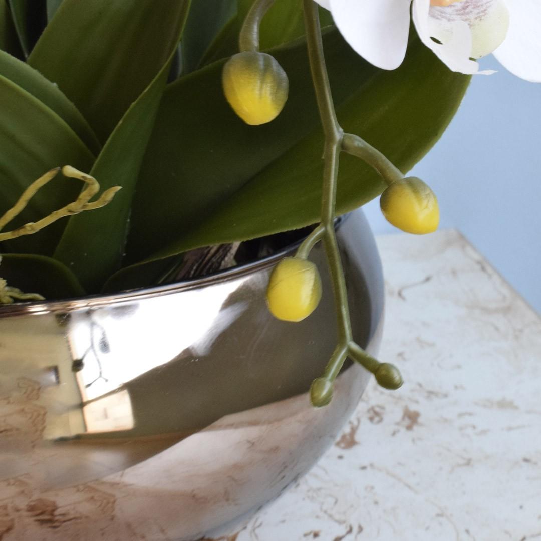 Arranjo com Seis Orquídeas Artificiais Branca no Vaso Rose Gold