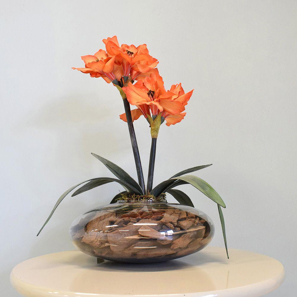 Flores artificiais Arranjos de Flores Amarílis Laranja no Vaso de Vidro|Linha permanente Formosinha