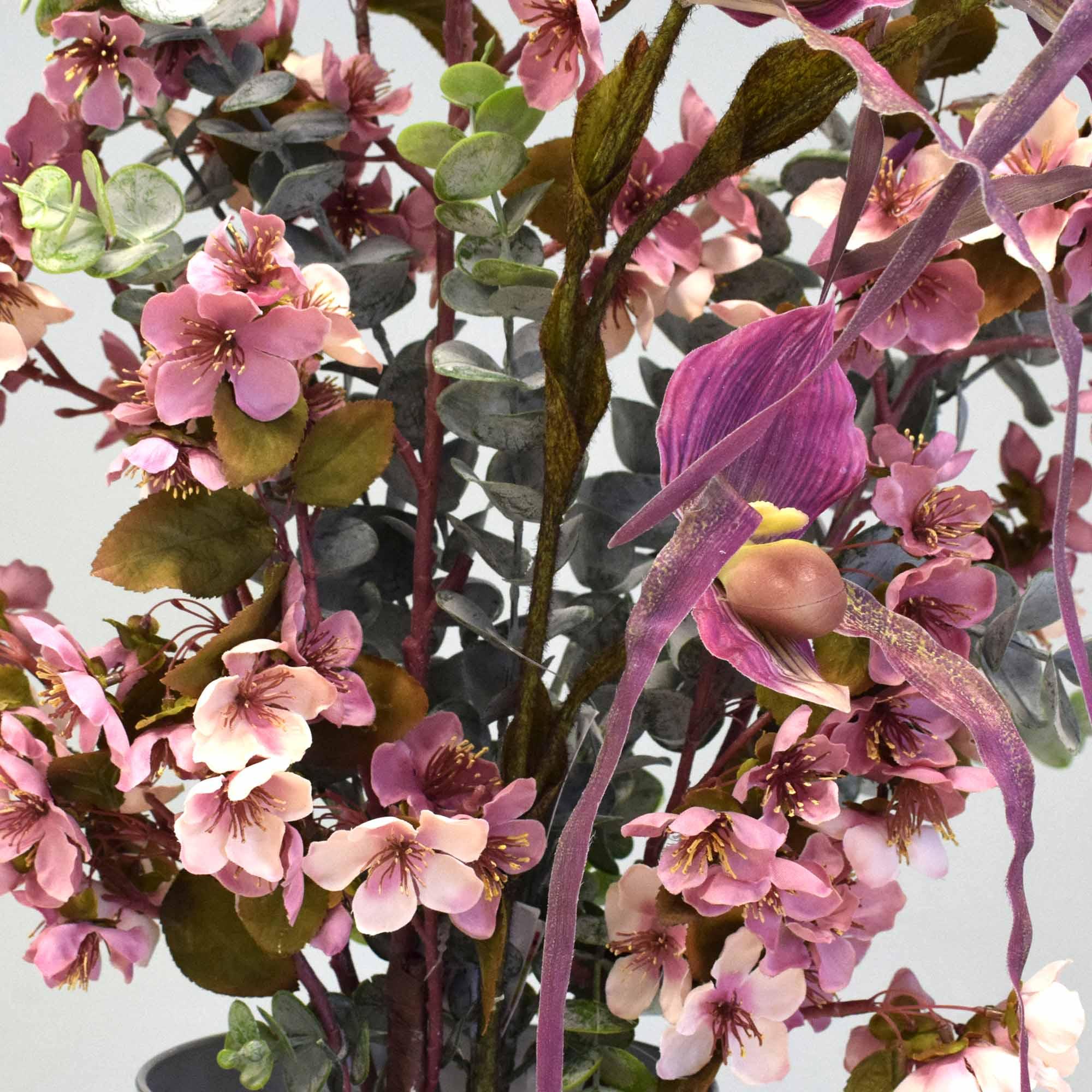 Flores artificiais Arranjos de Flores de Cerejeiras no Vaso Espelhado|Linha permanente Formosinha