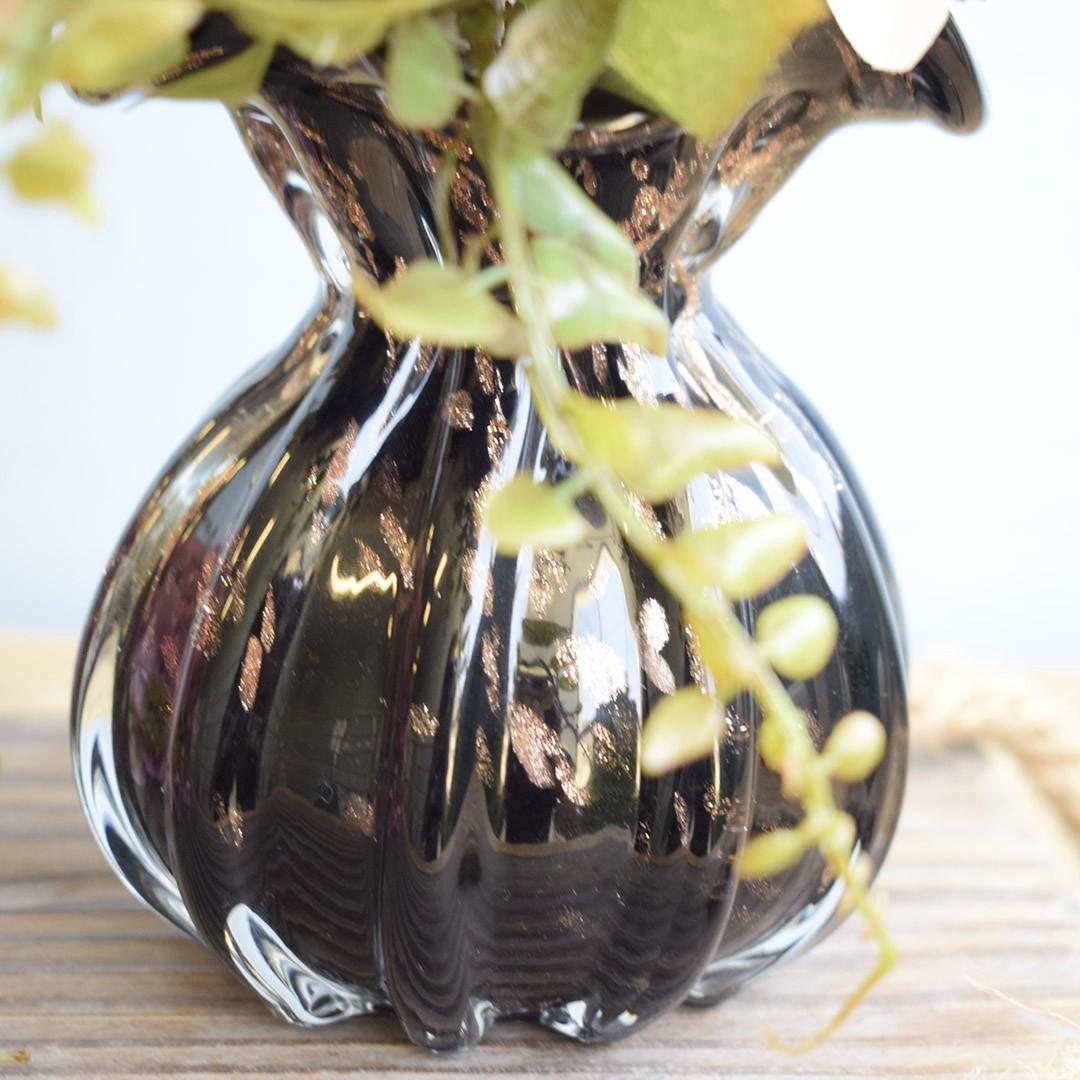 Arranjo de Dália Artificial no Vaso de Vidro Preto | Linha Permanente Formosinha