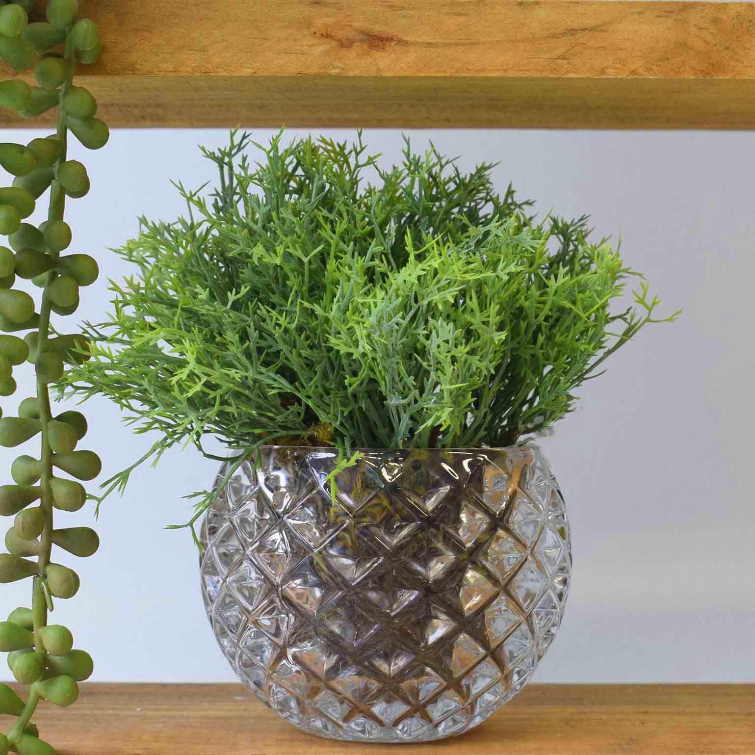 Arranjo de Erva-doce Artificial no Vaso de Vidro