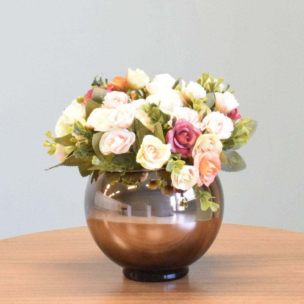 Arranjo de Flor Artificial Mini Rosas no Vaso Bronze|Linha permanente Formosinha