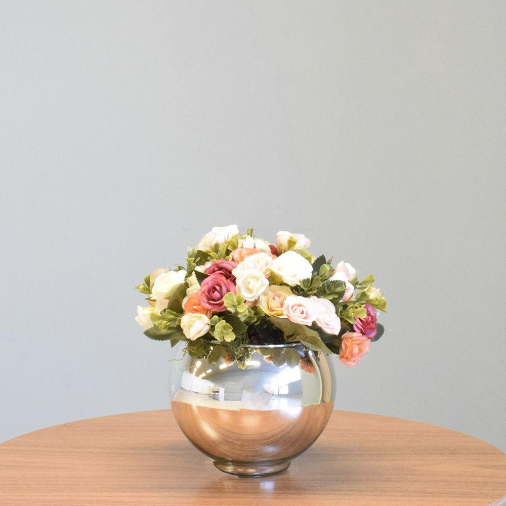 Arranjo de Flor Artificial Mini Rosas no Vaso Prateado|Linha permanente Formosinha