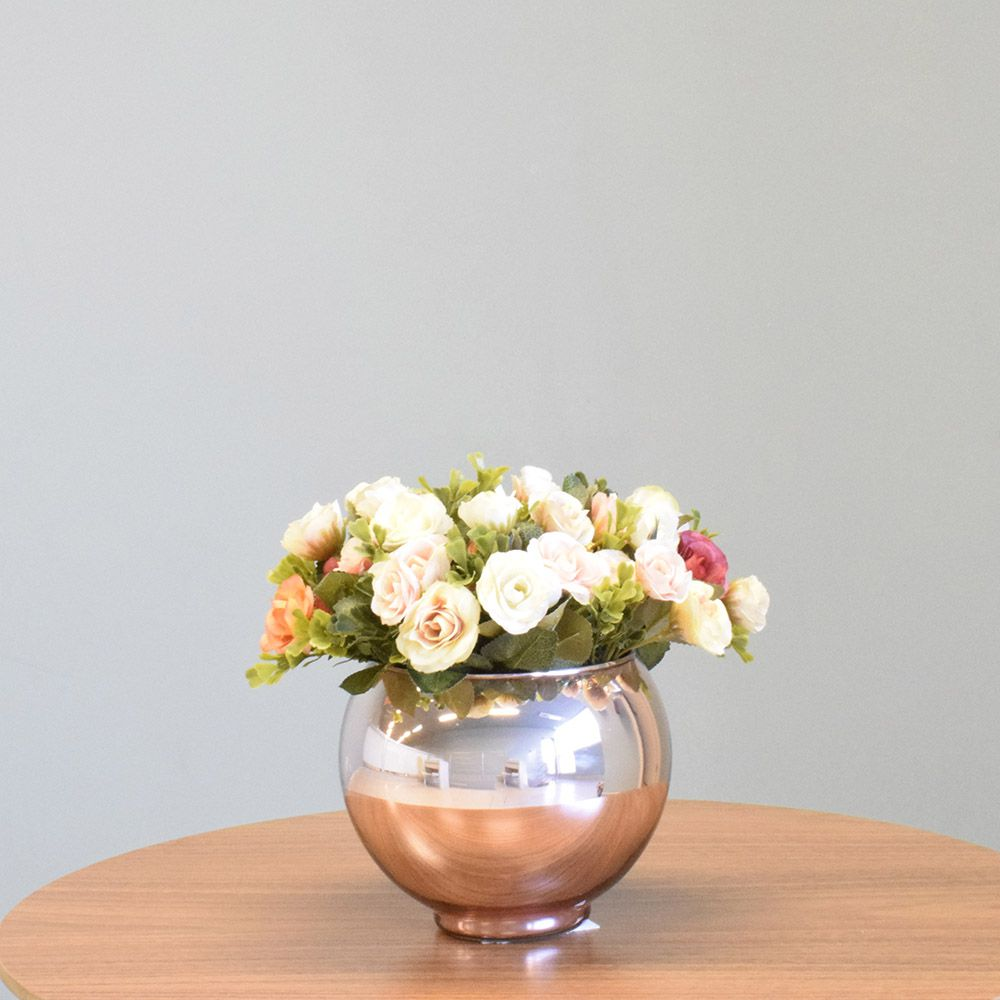 Arranjo de Flor Artificial Mini Rosas no Vaso Rose Gold|Linha permanente Formosinha