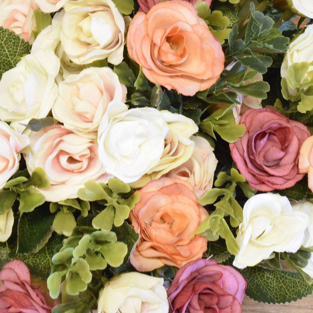 Arranjo de Flor Artificial Mini Rosas no Vaso Rose Gold|Linha permanente Formosinha