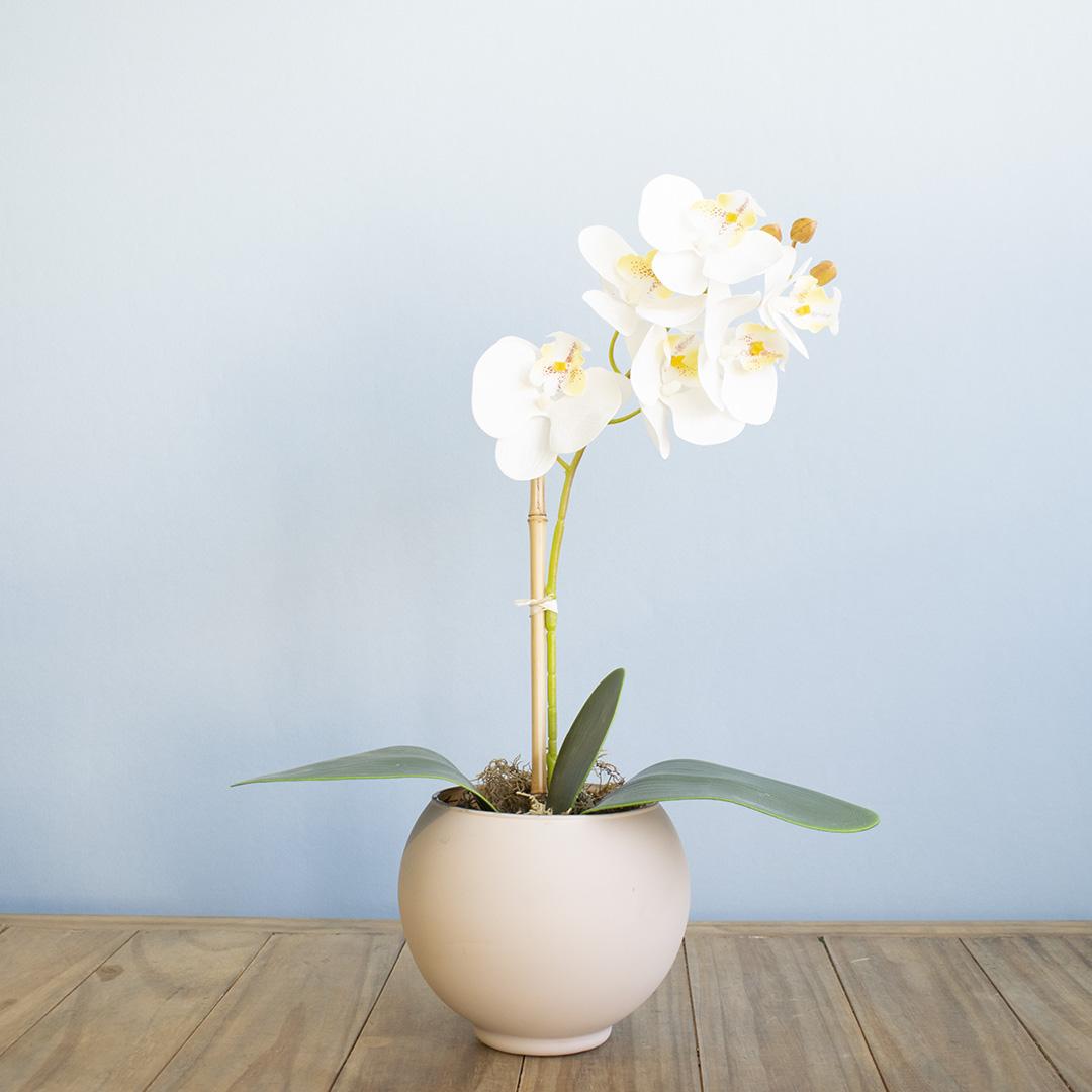 Arranjo de Flor Artificial Orquídea Branca no Vaso de Vidro Nude Fosco | Formosinha