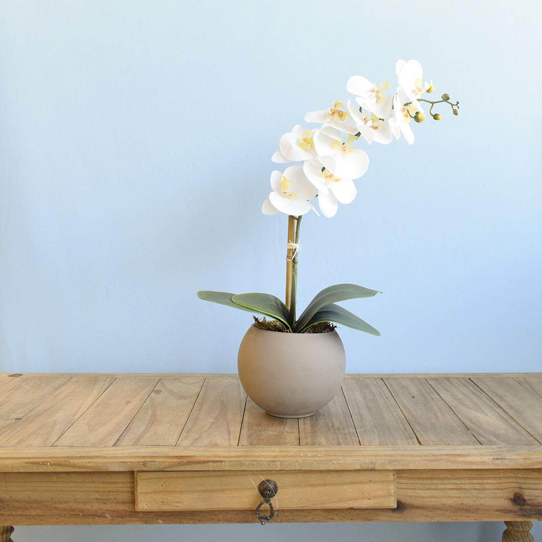 Arranjo de Flor Artificial Orquídea Branca no Vaso Médio Fendi Fosco | Linha Permanente Formosinha