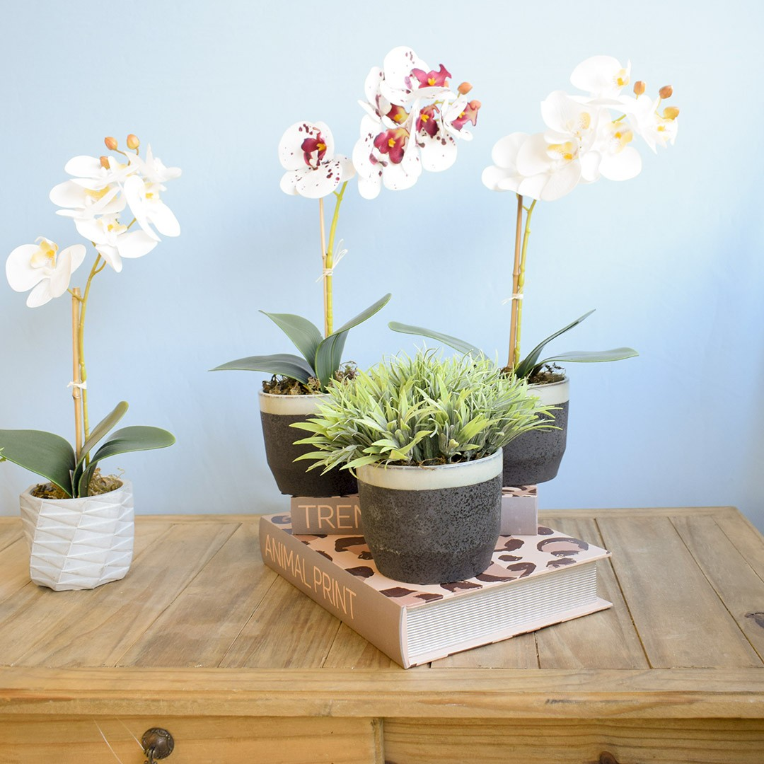 Arranjo de Flor Artificial Orquídea Tigre de Silicone no Vaso de Cerâmica Preto e Azul   Linha Permanente Formosinha