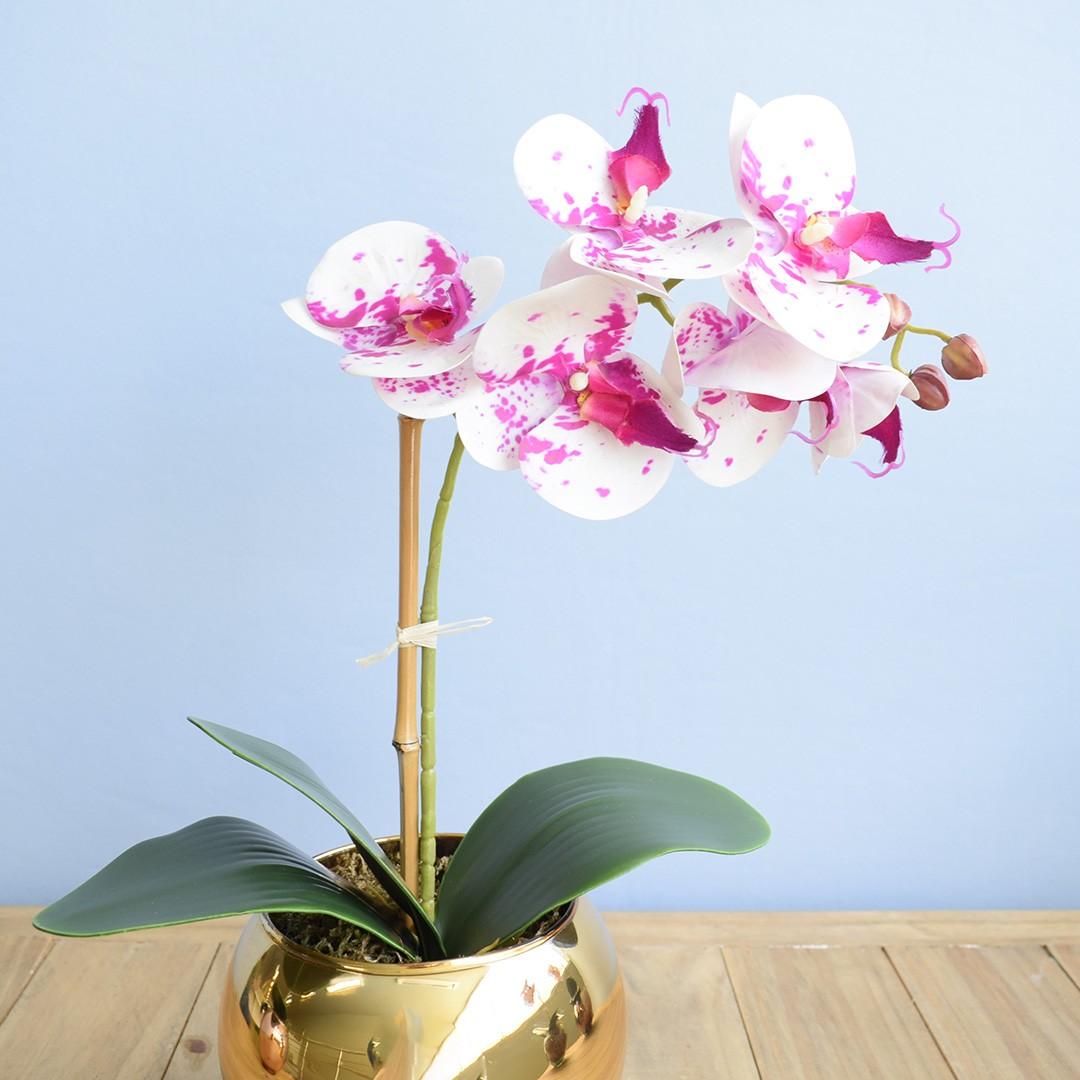 Arranjo de Flor Artificial Orquídea Tigre de Silicone no Vaso de Vidro Dourado | Linha Permanente Formosinha
