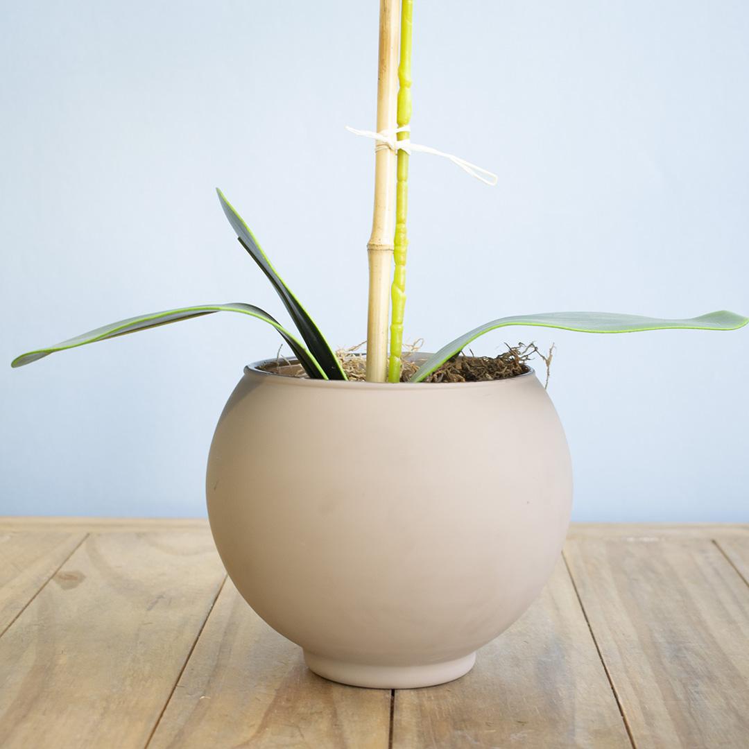 Arranjo de Flor Artificial Orquídea Tigre de Silicone no Vaso de Vidro Fendi Fosco| Linha Permanente Formosinha