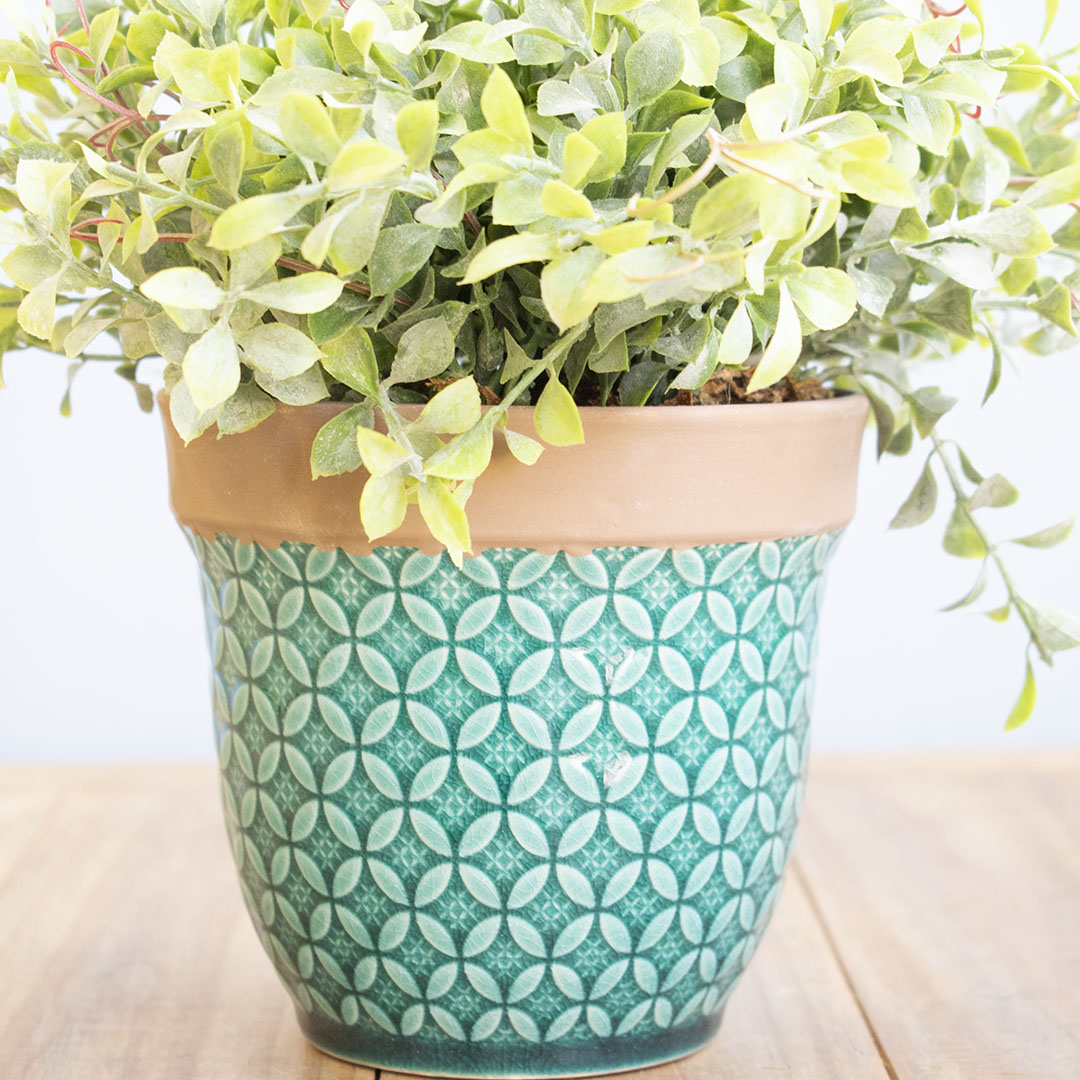 Arranjo de Flor Artificial Peperômia no Vaso de Cerâmica Azul Turquesa | Linha Permanente Formosinha