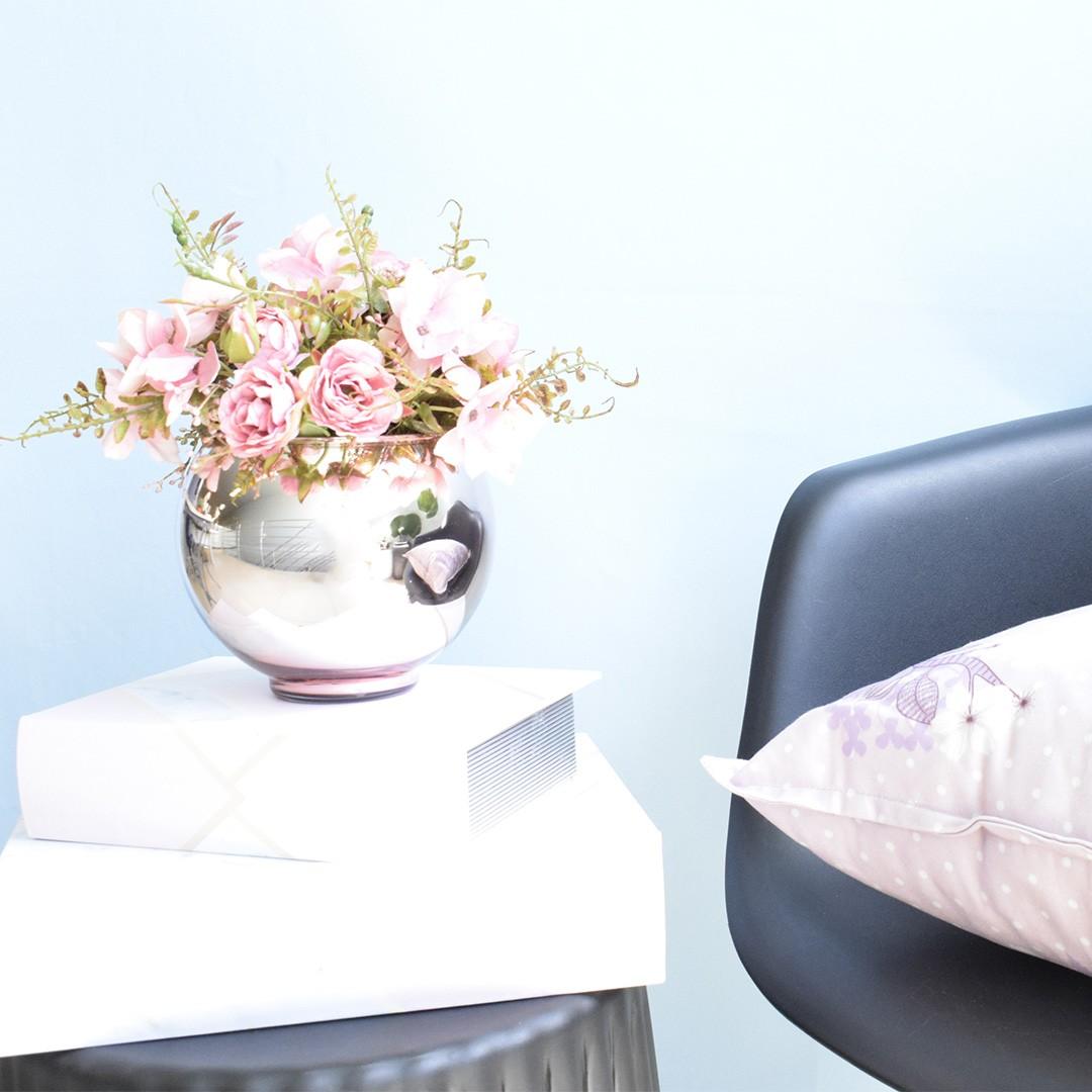 Arranjo de Flor Artificial Rosas Rosa no Vaso de Vidro Rose Gold