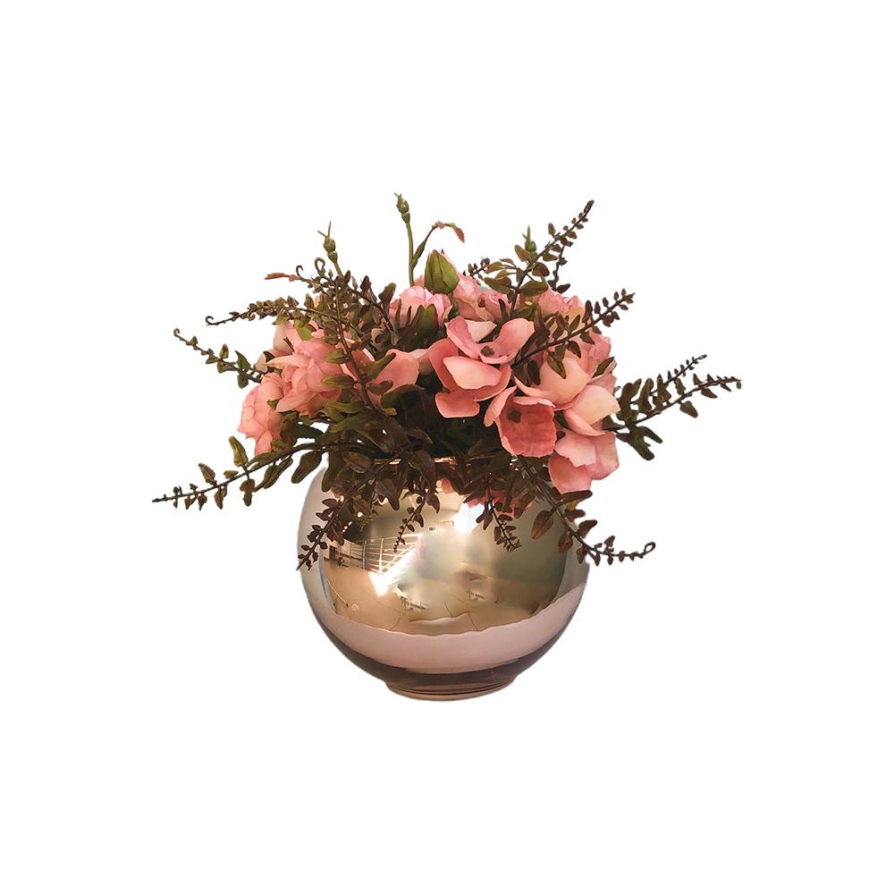 Arranjo de Flor Artificial Rosas no Vaso Rose Gold | Formosinha