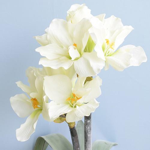 Arranjo de Flores Artificiais Amarílis Creme no Vaso Rose Gold | Linha Permanente Formosinha