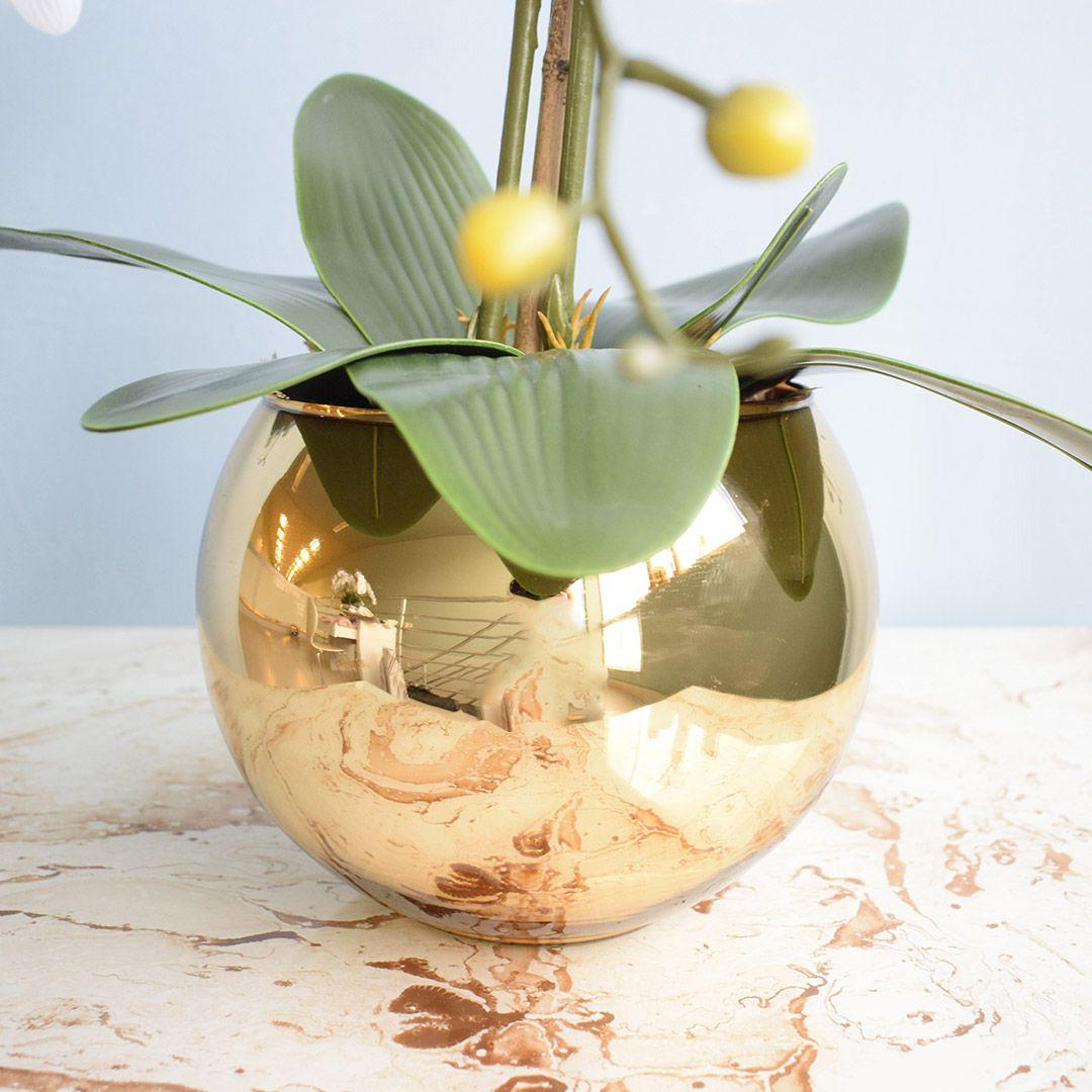 Arranjo de Flores Artificiais Orquídeas Silicone Brancas no Vaso Dourado