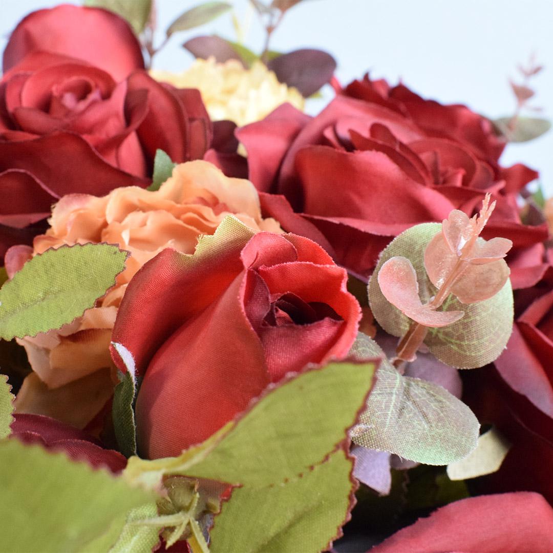 Arranjo de Flores Artificiais Rosas Vermelhas e Peônias no Vaso de Vidro