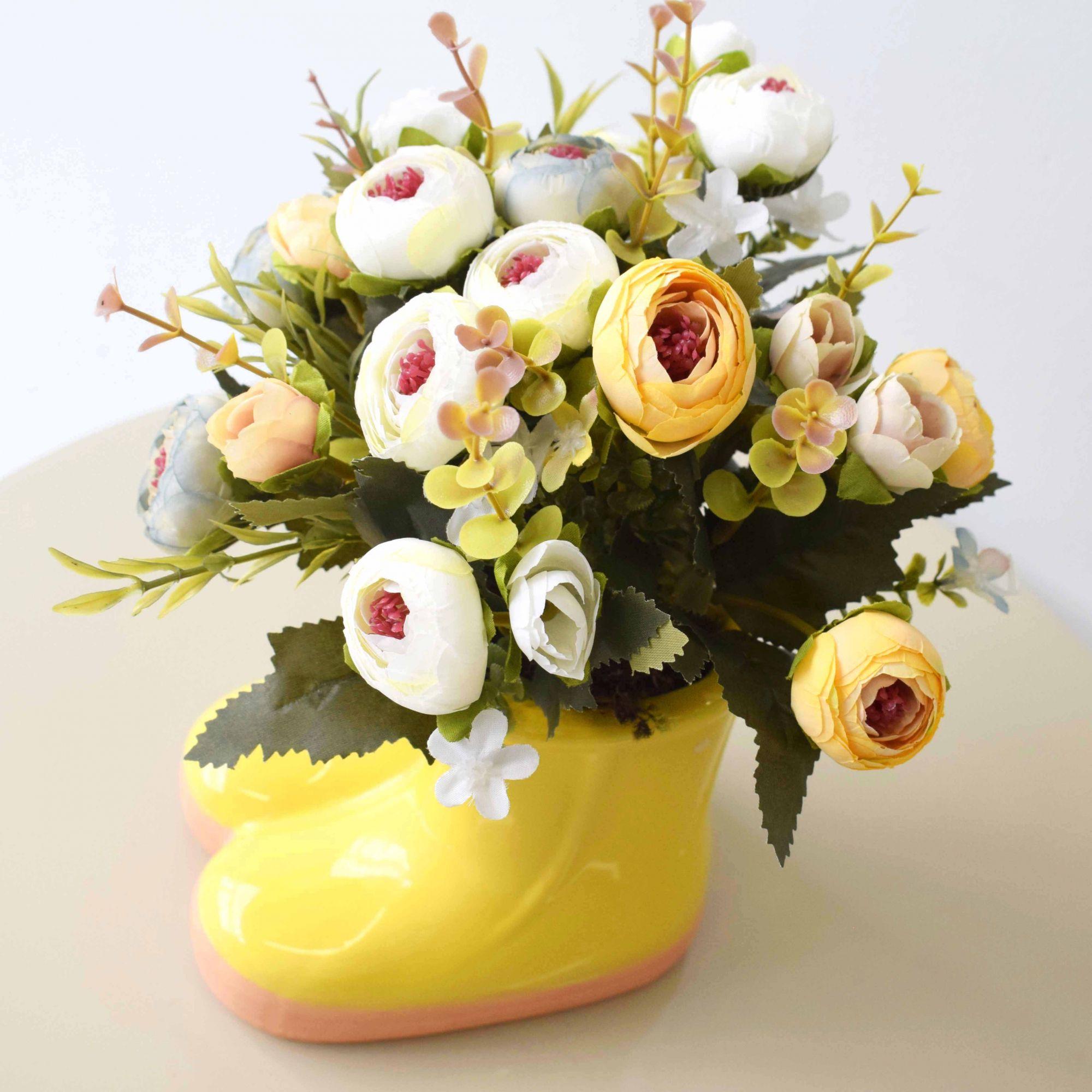 Flores artificiais Arranjo de Flores Coloridas no Vaso de Botinha de Cerâmica|Linha permanente Formosinha