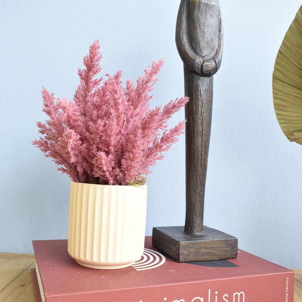 Arranjo de Flores Secas Pink no Vaso Canelado Areia| Linha Permanente Formosinha