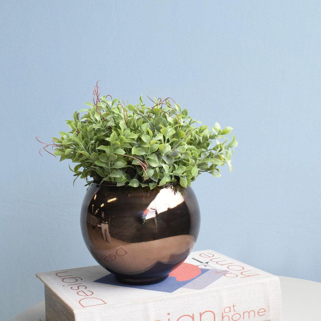 Arranjo de Folhagem Artificial no Vaso Bronze Pequeno|Linha Permanente Formosinha