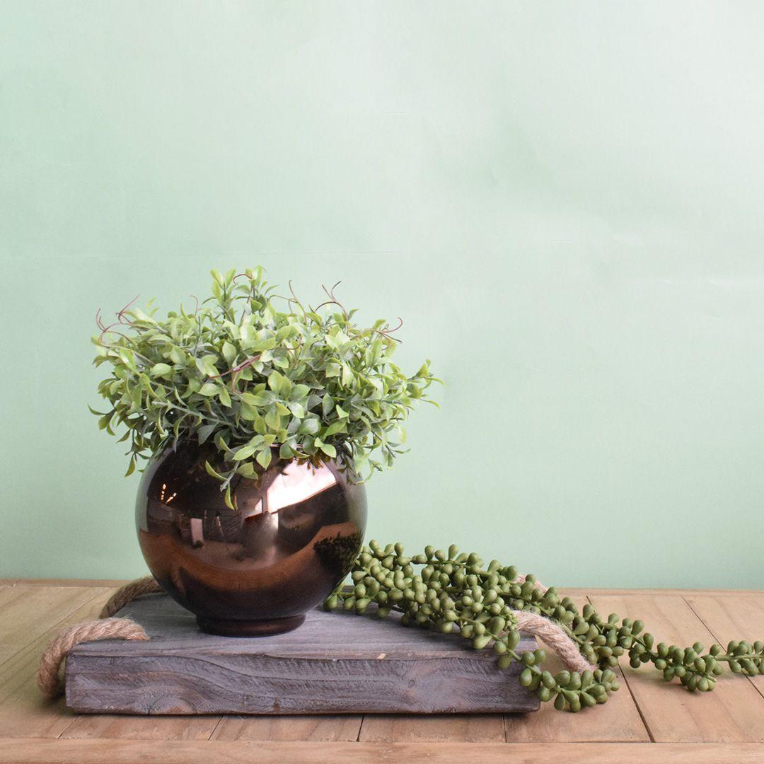 Arranjo de Folhagem Artificial no Vaso Bronze Pequeno Linha Permanente Formosinha