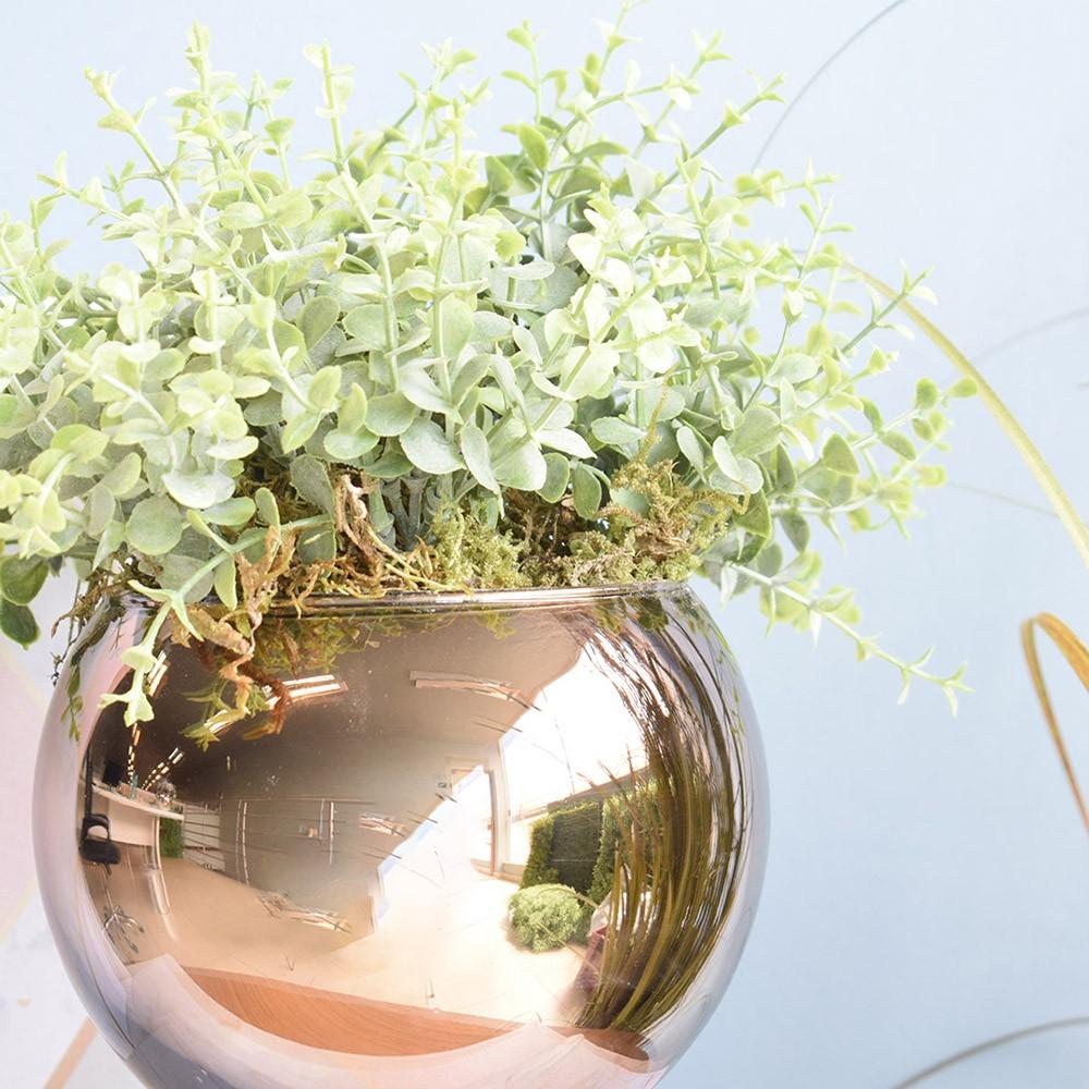 Arranjo de Folhagem Artificial no Vaso Bronze Pequeno | Linha Permanente Formosinha