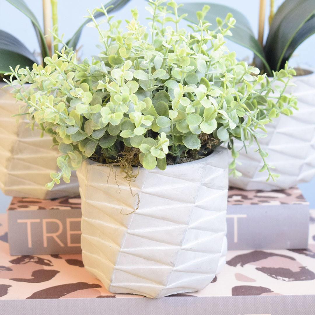 Arranjo de Folhagem Artificial no Vaso Cimento Geométrico|Linha Permanente Formosinha