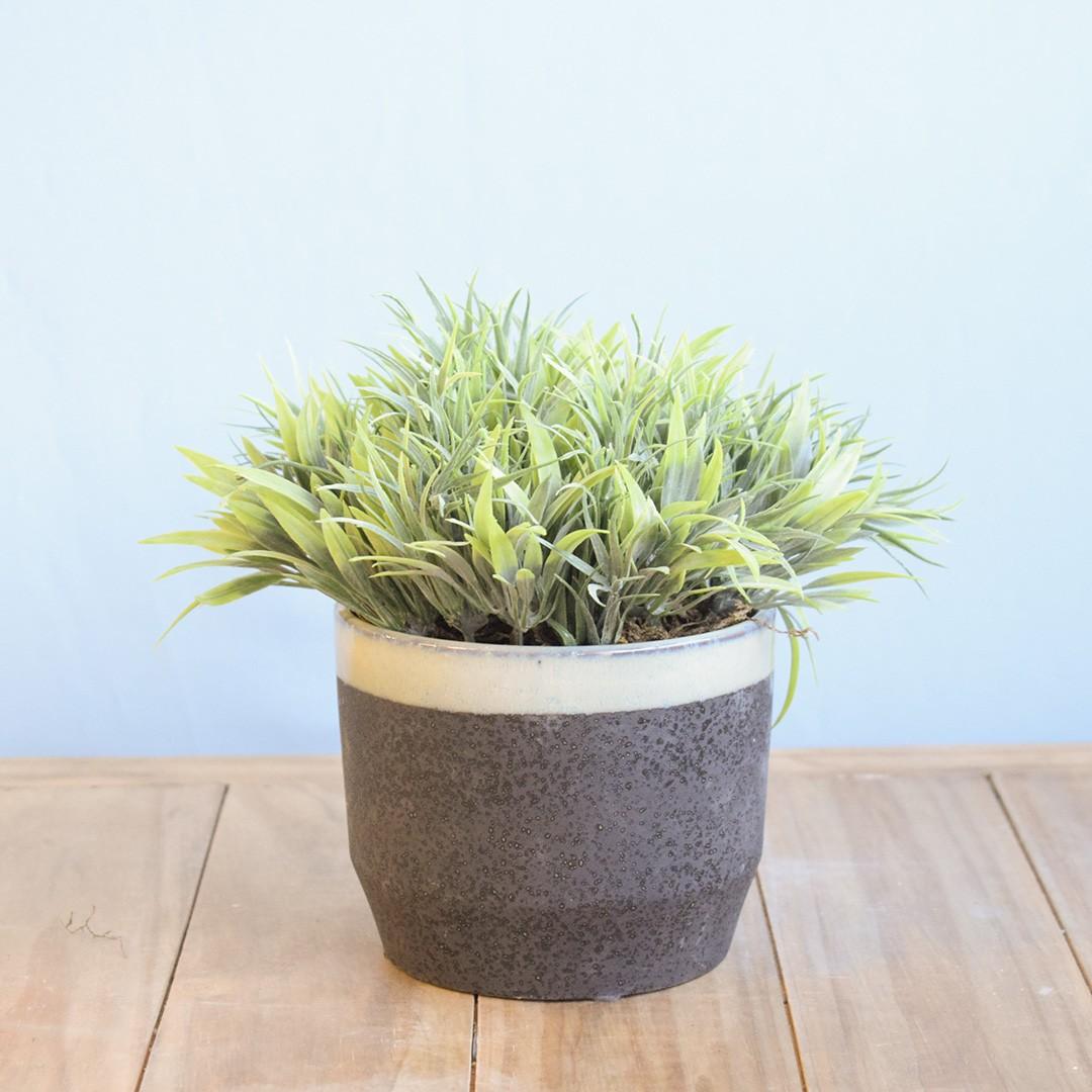 Arranjo de Folhagem Artificial no Vaso de Cerâmica Preto com Azul |Linha Permanente Formosinha