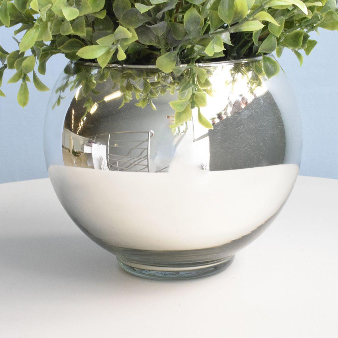 Arranjo de Folhagem Artificial no Vaso Prateado Pequeno|Linha Permanente Formosinha