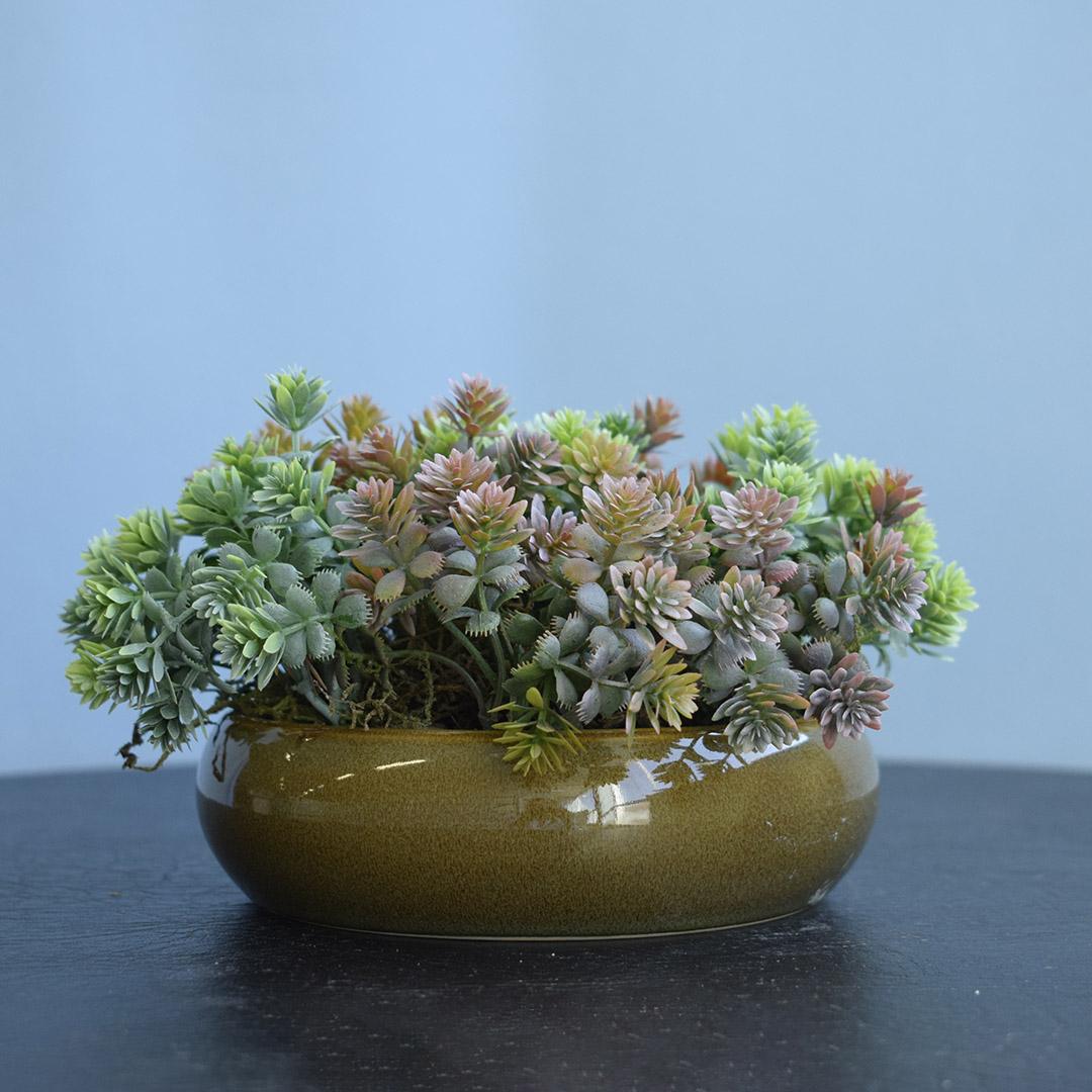Arranjo de Folhagem Artificial no Vaso Cerâmica Verde Baixo | Formosinha
