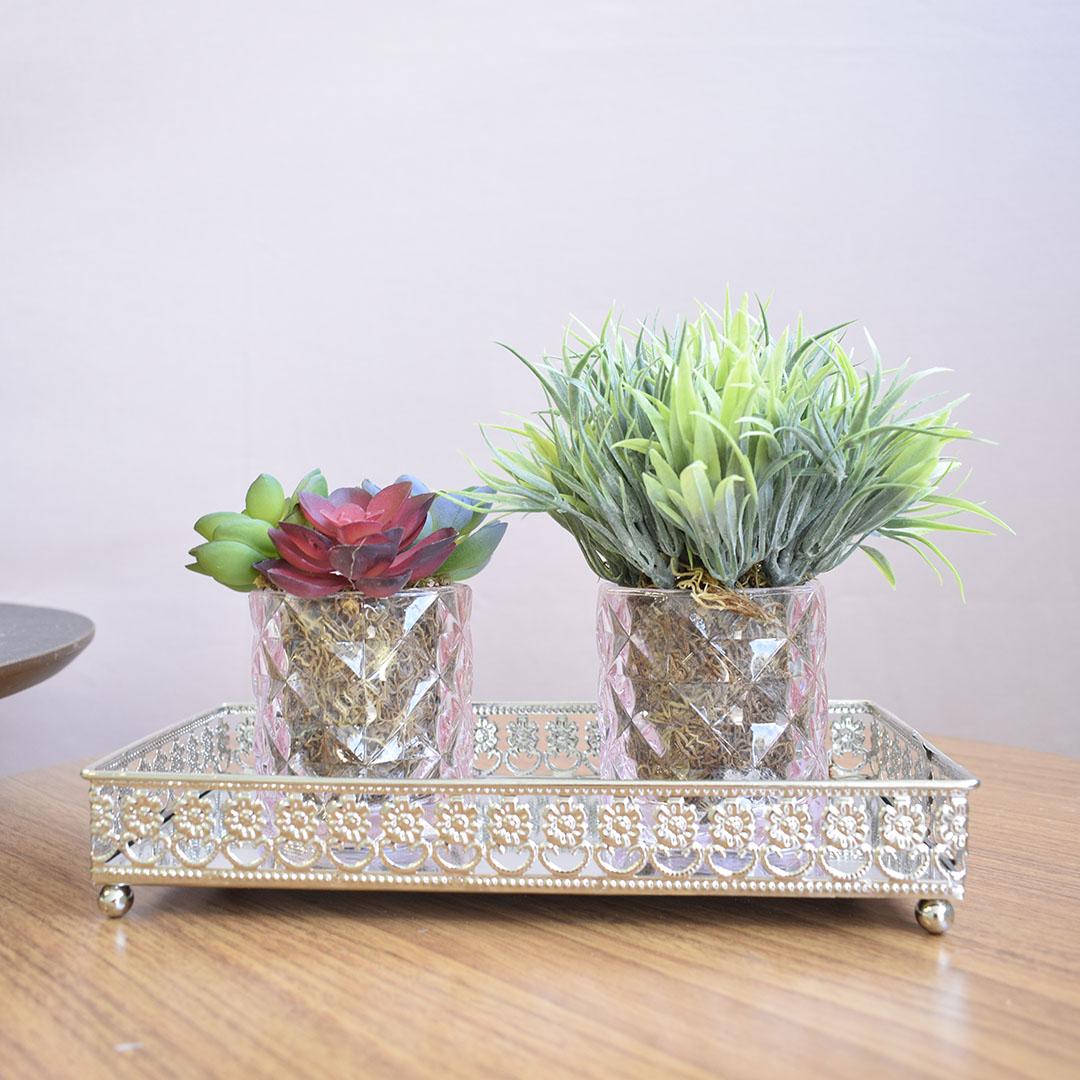 Arranjo de Folhagem e Suculentas no Vaso de Vidro Rosa - Kit com Dois Arranjos | Linha permanente Formosinha