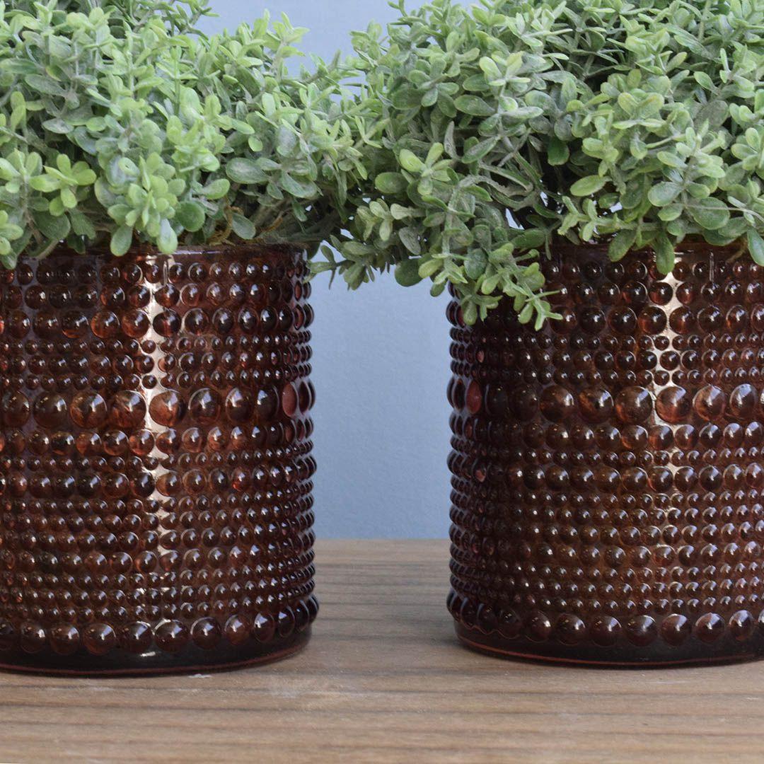 Arranjo de Folhagem no Vaso de Vidro Marsala - Kit com Dois Arranjos |Linha permanente Formosinha