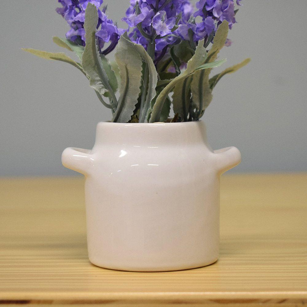 Arranjo de Lavandas no Vaso de Cerâmica Branco|Linha Permanente Formosinha