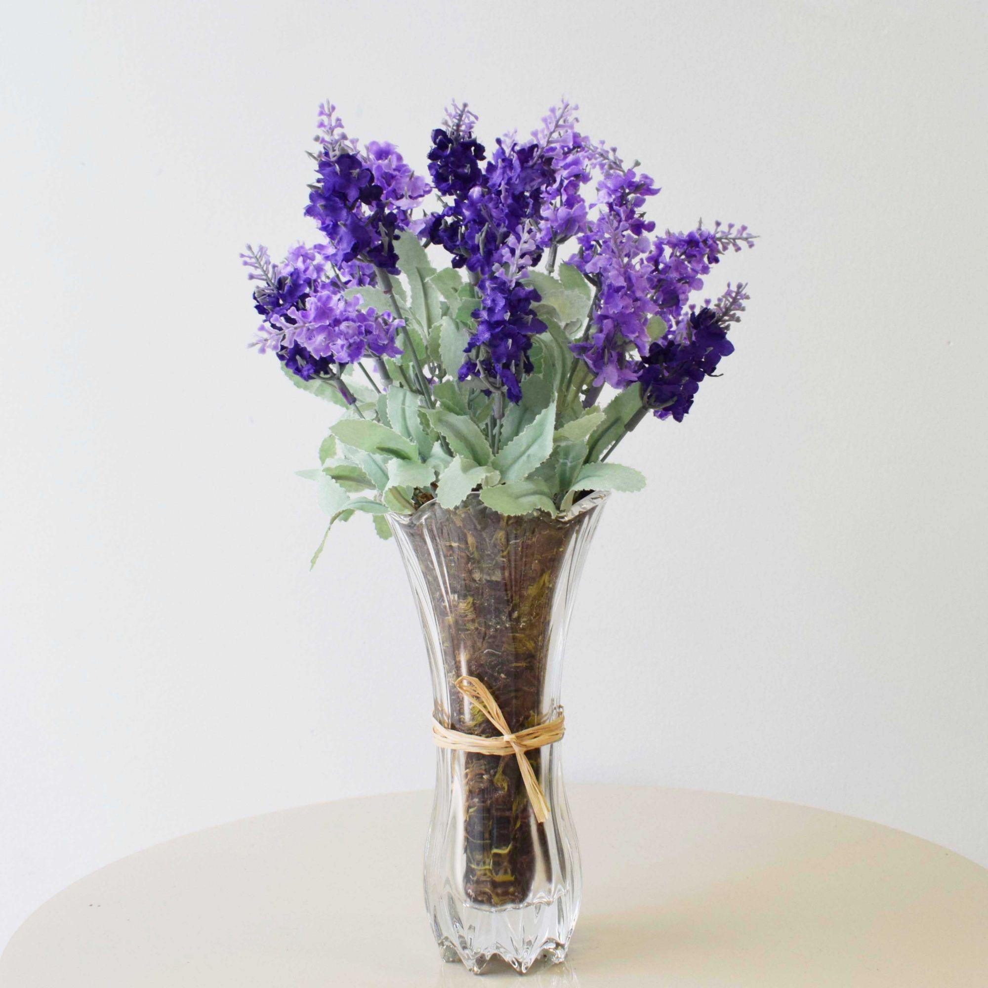 Flores artificiais Arranjo de Lavandas no Vaso de Vidro|Linha permanente Formosinha